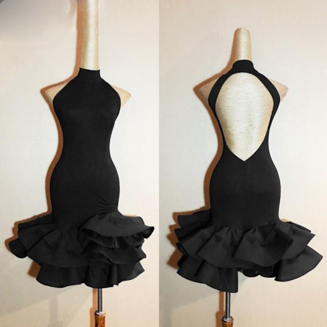 レディース社交ダンス衣装 競技ドレス ラテンドレス サルサ ノースリーブ ブラック