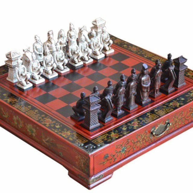 伝統的 古典的 クラシック 中国 テラコッタ 戦士 木製 チェス盤 チェスボードゲーム ティーンエイジャー チェスセット