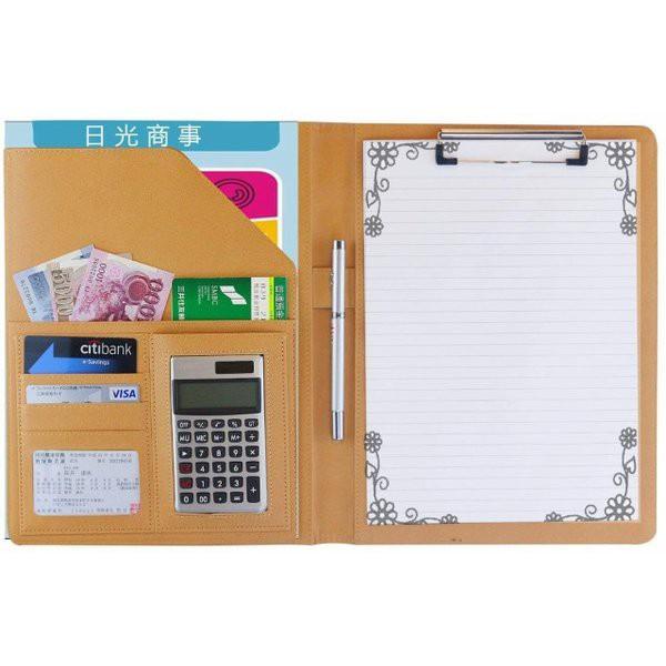 A4 バインダー クリップボード 多機能フォルダー 12桁電卓付き ビジネス手帳 システム 書類 名刺 カード オフィス用品 収納ポケット