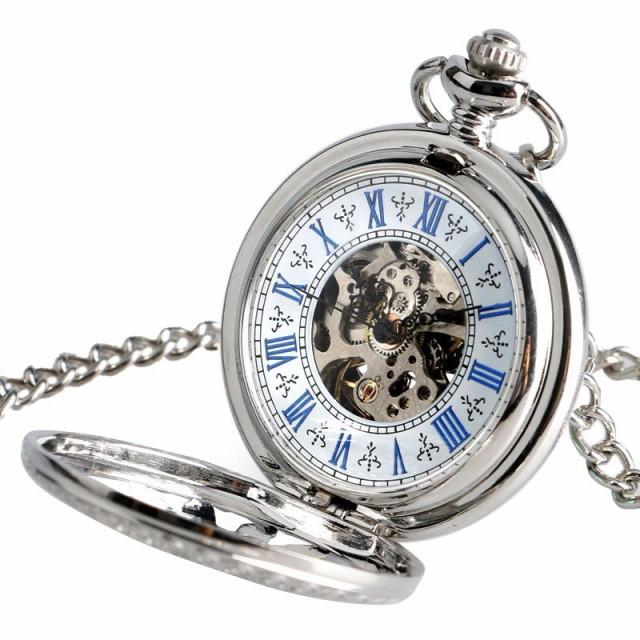 懐中時計 アンティーク チェーン 自動巻き 機械式 メカニカル スケルトン スチームパンク レトロ