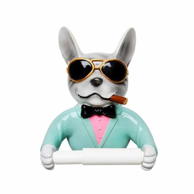 トイレットペーパーホルダー おしゃれ 葉巻をくわえたダンディな犬 フレンチブルドッグ (ホワイト)