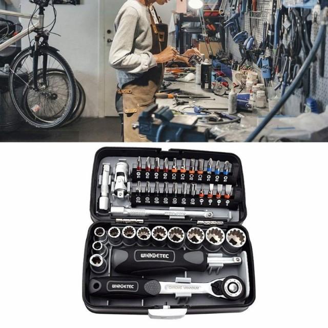 38 個ミニラチェットレンチセット 1/4 ソケットスクリュービットキットバイクメンテナンス修理ハンドツール