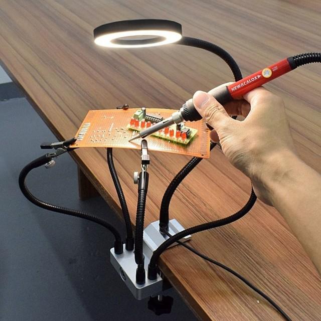 こて台 固定アーム 半田ごて 作業台 diy 精密作業 ledライト 拡大鏡