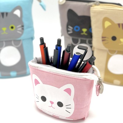 ロジック ペンケース ペンスタンド ねこ [LG-POUCH-CAT] 文房具 筆箱 ペン立て ポーチ 動物 猫 かわいい おしゃれ パステルカラー 便利