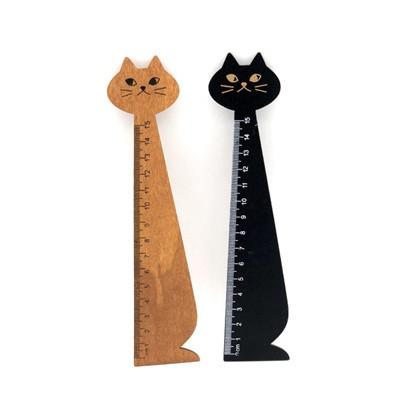 ロジック 定規 猫 2種類セット 長さ:15cm [LG-RULER-CAT-2SET] 文房具 筆記具 ものさし 木製 ねこ シンプル おしゃれ かわいい 黒 ナチ
