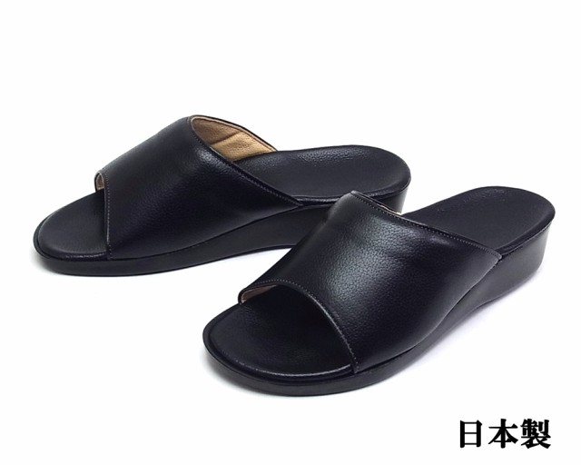 メンズ 裏面本革 厚底 オープントゥサンダル 日本製 ブラック