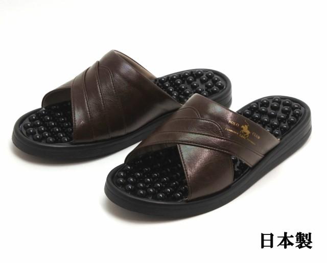 POLO CLUB 紳士ヘップサンダル イボイボ健康サンダル 日本製 チョコ