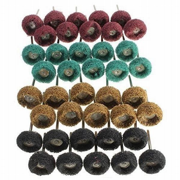 Batreetek 繊維バフ4色 40個入り ホイール ナイロン T型 布ブラシホイール 3mm軸 研磨 剤 電動 ドリル ルーター ビッ
