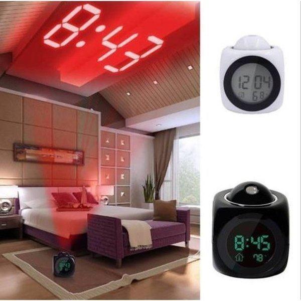 目覚まし時計 液晶 プロジェクター アラーム 目覚し 時計 ブラック
