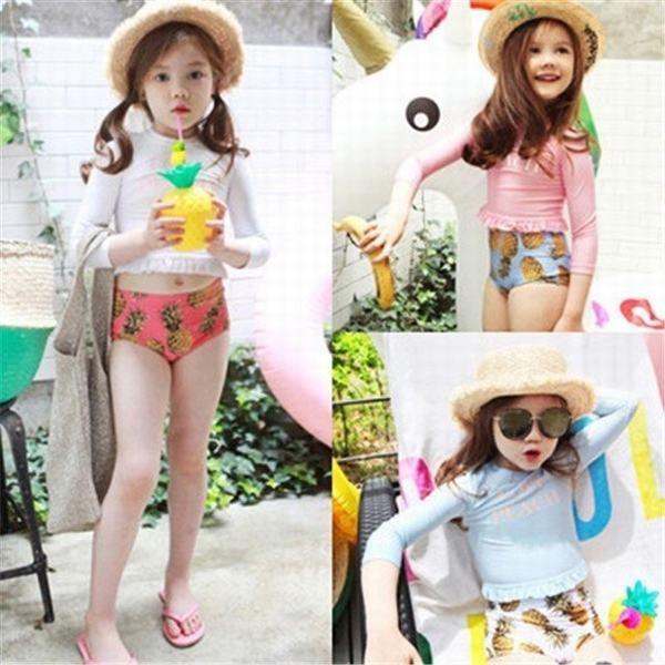 3color!2点セット キッズ 子供 水着 ラッシュガード 女の子 パイナップル柄 ボタニカル 長袖フリル 日焼け対策ハイウエスト プール 海水