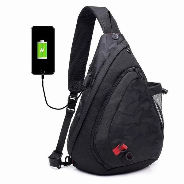 YA-0000349 メンズバッグ ボディバッグ USB充電口 ワンショルダー大容量 撥水素材 キャンバス ボディバック 軽量 耐摩設計 前掛け お出か