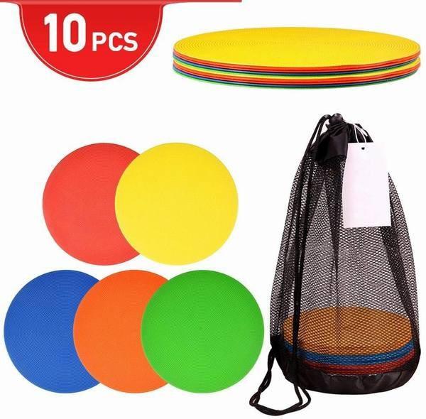 フラットマーカー サッカー フットサル トレーニング マーカーコーン カラーディスクコンー 柔らかい 割りにくい 長径23cm 5色 10枚セッ
