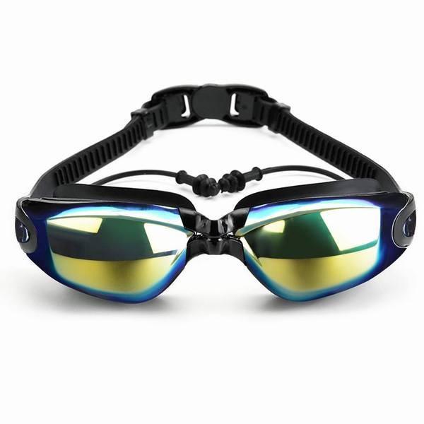 スイミングゴーグル 曇り止め 防水 3D人間工学設計 UVカット ベルト調節可 スイムゴーグル 耳栓 付き 男女兼用 (親子セット)