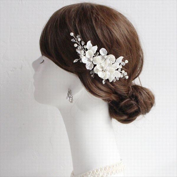 ヘッドドレス 髪飾り フラワー 小枝 ビーズ ヘアアクセサリー ウェディング 和装 着物 ヘッドアクセサリー 髪留め 振袖 結婚式 フォーマ