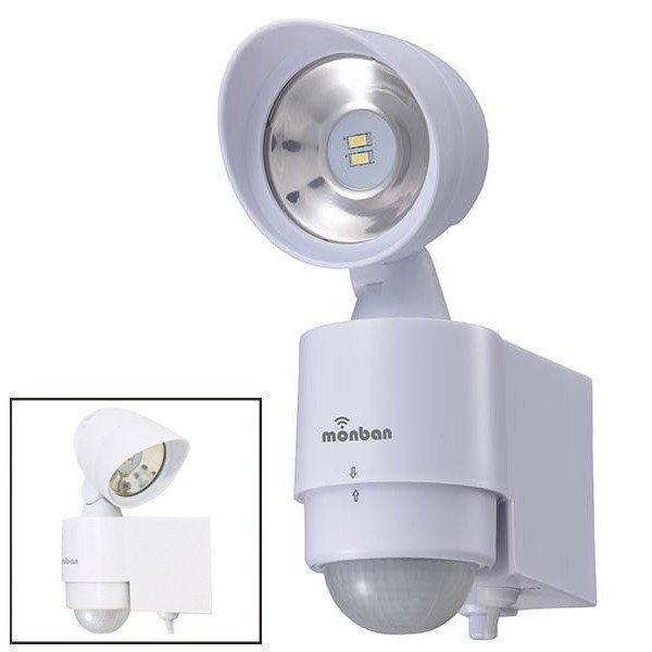 ledセンサーライト センサーライト 1灯 80lm ledライト 乾電池式 オーム電機