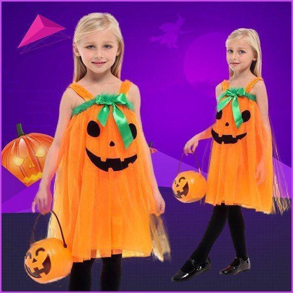 ハロウィン衣装 かぼちゃ パンプキン チュチュ ワンピース ふわふわドレス 悪魔 魔女 女の子 子供用 仮装 ダンス衣装 yw0557