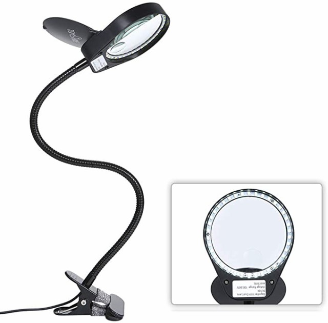 拡大鏡 スタンドルーペ クリップ式 倍率3倍/10倍 レンズ直径10CM LEDライト付き 読書 新聞 地図 ジュエリー 手芸 虫眼鏡 USB給