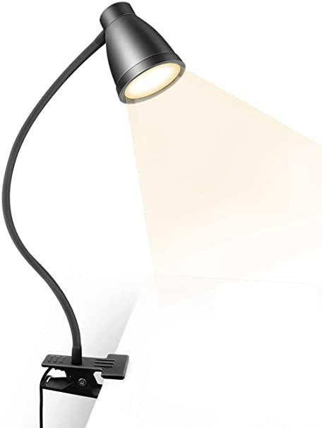 クリップライト led デスクライト 卓上ライト 読書灯 ベッドライト ナイトライト 3段調色(暖色/昼光色/白色) 10段調光 USB式 500lm 360°