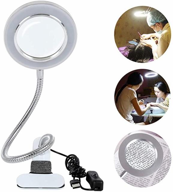 拡大鏡 ルーペ ledライト付き クリップライト led デスクライト 8倍の倍率拡大鏡を搭載 USB式 10w LEDライト 360度回転 省エネ 明るい