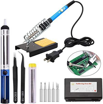 はんだごてセット 温度調節可(200〜450℃)ハンダゴテ 14-in-1 電子作業用 60W/110V PSE認証 安全