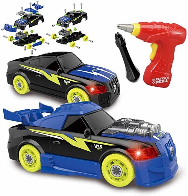 組み立ておもちゃ 組み立て車 分離アセンブリ車両 26ピース おもちゃ レースカー組立セット DIY工具 おもちゃ 子供用電動ドリル 光と音