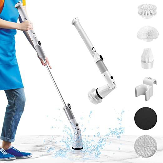 バスポリッシャー ターボスクラブ 高速回転 電動掃除ブラシ デッキブラシ お風呂掃除ブラシ 電動ブラシ 四つのブラシ付 掃除グッズ 長時