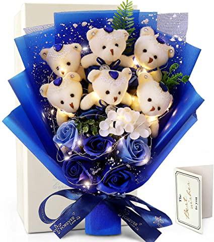 led ソープフラワー 花束 薔薇 青いバラ 枯れない花 石鹸 花 ぬいぐるみ花束 くま束 お見舞い 敬老の日 母の日のプレゼント 還暦祝い 結
