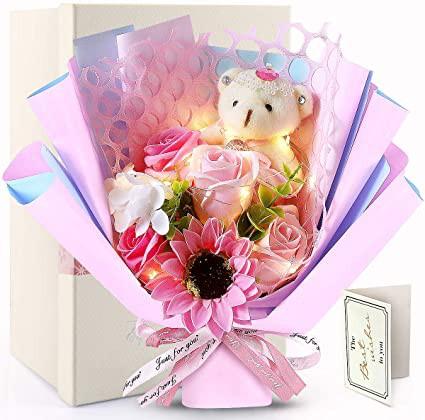 LED花束 ソープフラワー ひまわり フラワー シャボンフラワー 石鹸花 造花 薔薇 誕生日 花 枯れない ぬいぐるみ花束 母の日のプレゼント