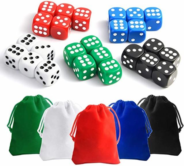 ダイス trpg ダイス クトゥルフ 六面ダイス ボードゲーム カードゲーム用 サイコロ 25個 全5色(白、赤、黒、青、緑) 5色収納袋付き
