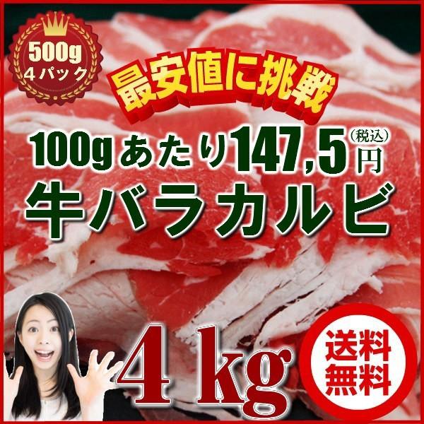 肉 盛り 業務用 訳あり 牛肉 4kg 焼肉 カルビ 冷凍 バーベキュー BBQ 牛バラ 500g×8袋