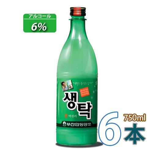 送料無料 冷蔵 マッコリ 釜山生濁(センタク)750ml x 6本 (02511x6)「10」