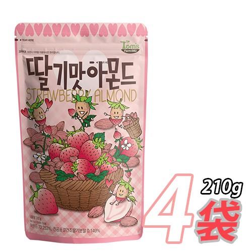 【大人気】【Tom`s farm】 イチゴ味アーモンド ★ 210g x4袋★「日本語パッケージ」 大容量 ジッパーパック お菓子 ハニーバター 韓国