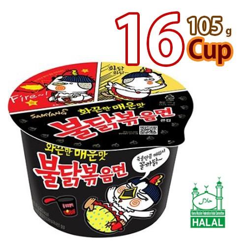 送料無料 サンヤン ブルダック炒めカップ麺105g x 16カップHALAL認証商品 (01363x16)