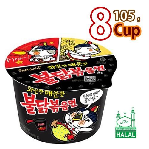 送料無料 サンヤン ブルダック炒めカップ麺105g x 8カップHALAL認証商品 (01363x8)