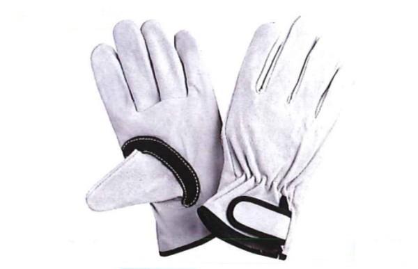 川西工業【KAWANISHI】作業手袋/皮手袋/牛皮 2270 牛床革マジック 黒アテ付 M・Lサイズ(シロ) 10組セット