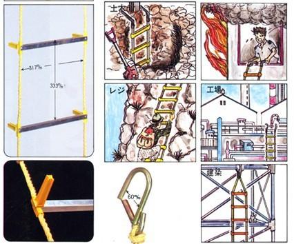 避難用 アルミ縄はしご 8m/リキロンロープ/ワイヤ芯入り/耐候性/柔軟性/耐熱性横桟/送料無料