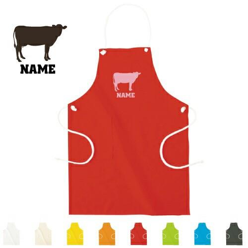 名入れエプロン「牛」/プレゼント、贈り物、オリジナルエプロン、ホルスタイン、ビーフ、牛肉、牛乳、オーダーメイドエプロン、前掛け、