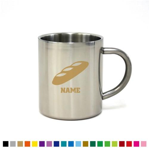 フランスパン 名入れステンレスマグカップ 真空二重構造 保冷 保温 断熱 コーヒーカップ 湯飲み 割れないマグカップ bread、パン屋さ