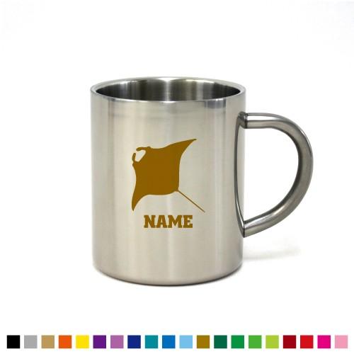 エイ 名入れステンレスマグカップ 真空二重構造 保冷 保温 断熱 コーヒーカップ 湯飲み 割れないマグカップ ?、?、?、エイヒレ