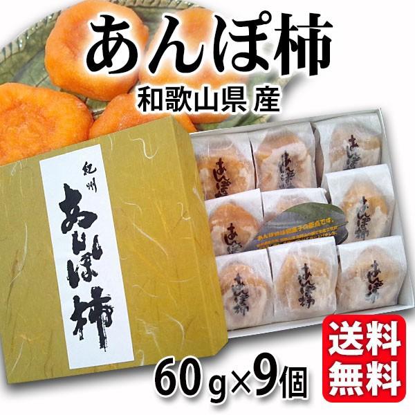 送料無料 あんぽ柿 化粧箱 60g×9個 和歌山県