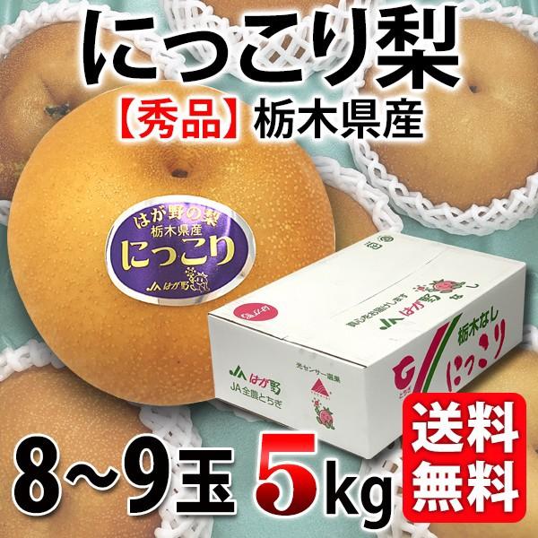 送料無料 にっこり梨 栃木県産 秀クラス 8−9玉 5Kg なし