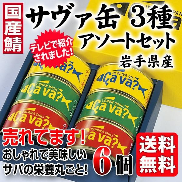 送料無料 さば缶 サヴァ缶 3種アソートセット 国産サバ