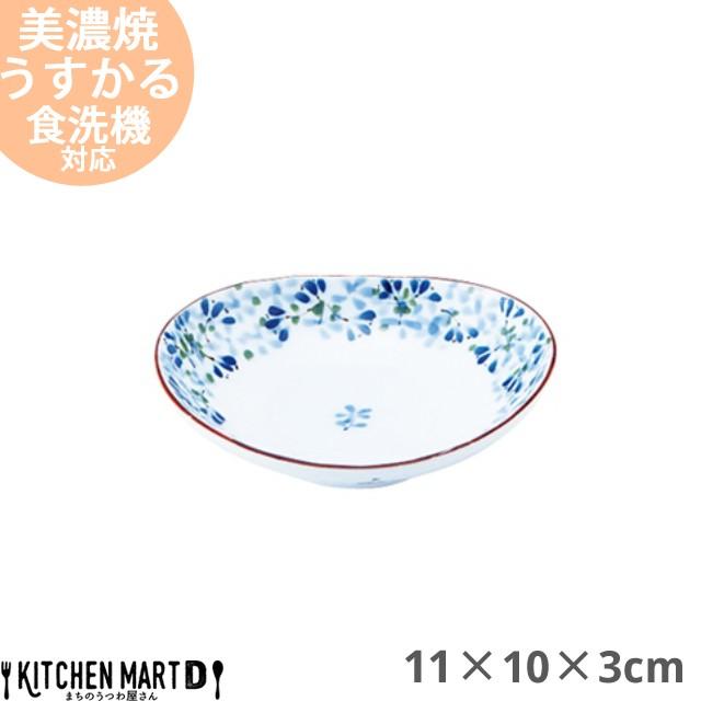 うすかる 芽ばえ 11×10cm 35 楕円深皿 小皿 醤油皿 美濃焼 日本製 陶器 おうちカフェ 国産 軽量 軽い おしゃれ カフェ 食器 花柄 フラワ
