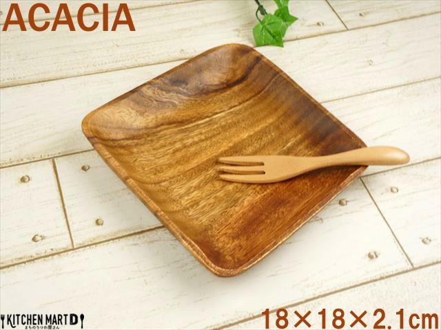 アカシア 角 18cm 木製 プレート 取り皿 木 plate ウッドバーニング カフェ 食器 おうちカフェ おしゃれ 子供 食器 皿 業務用 ラッピング