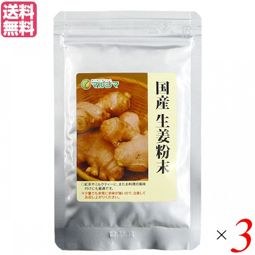 生姜パウダー 生姜 国産 マルシマ 国産生姜粉末 20g 3袋セット 送料無料