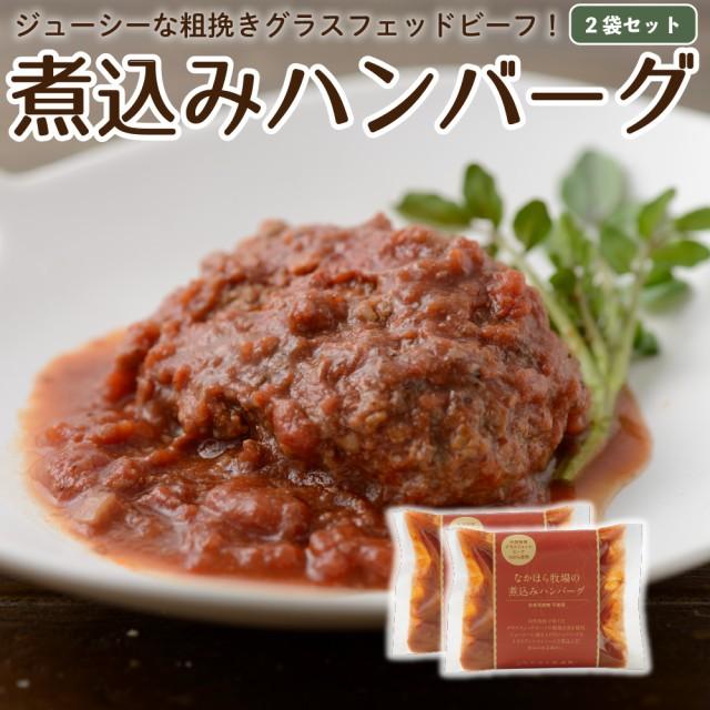 国産 ハンバーグ グラスフェッドビーフ 2食分 冷凍レトルト 温めるだけ 牛肉 放牧 牧草牛 お取り寄せ [冷蔵 / 冷凍可]