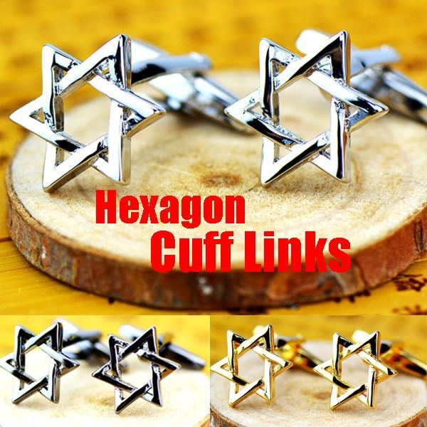 六角スター型カフスボタン  ヘキサゴン