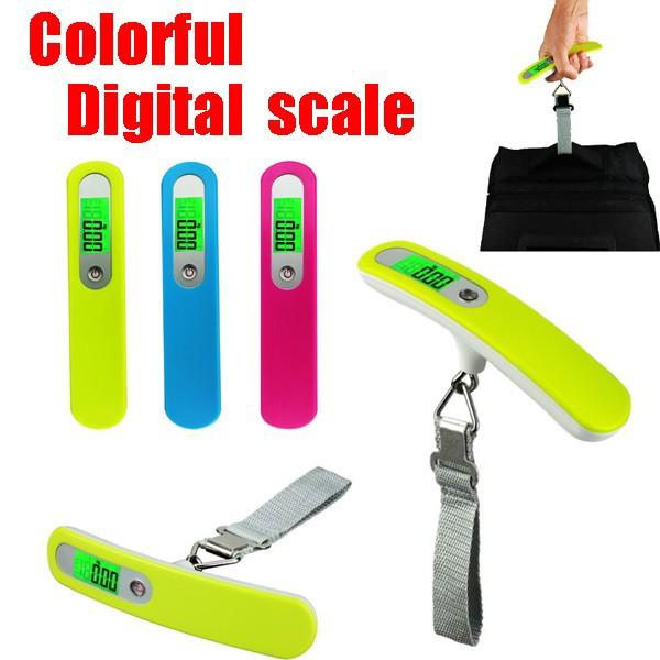 デジタルスケール カラフルタイプ スーツケース用はかり ラゲッジスケール 荷物 量り 測り 計量 重量計 電子計り 電子量り