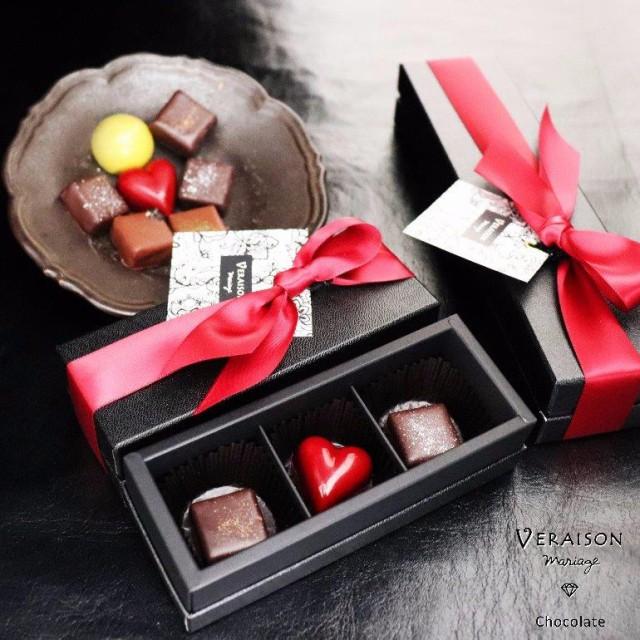 【チョコ】 義理チョコ 3個入 ボンボンショコラリボン包装 「パッション タンザニア メキシック」