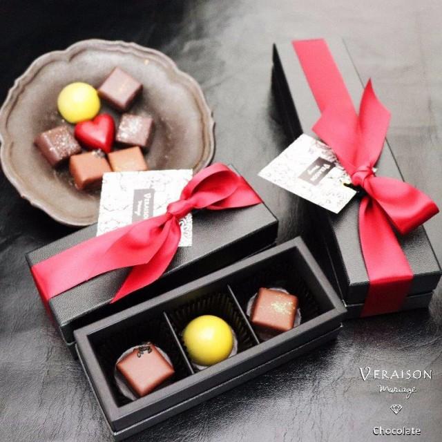 【チョコ】 義理チョコ 3個入り ボンボンショコラ リボン包装 「ゴマ ユズ マッチャ」